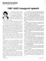 1997 AAO inaugural speech